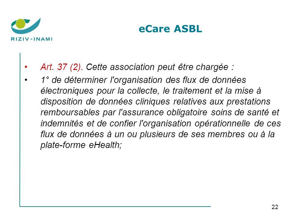 22 eCare ASBL Art. 37 (2). Cette association peut être chargée : 1° de déterminer l'organisation des flux de données électroniques pour la collecte, l