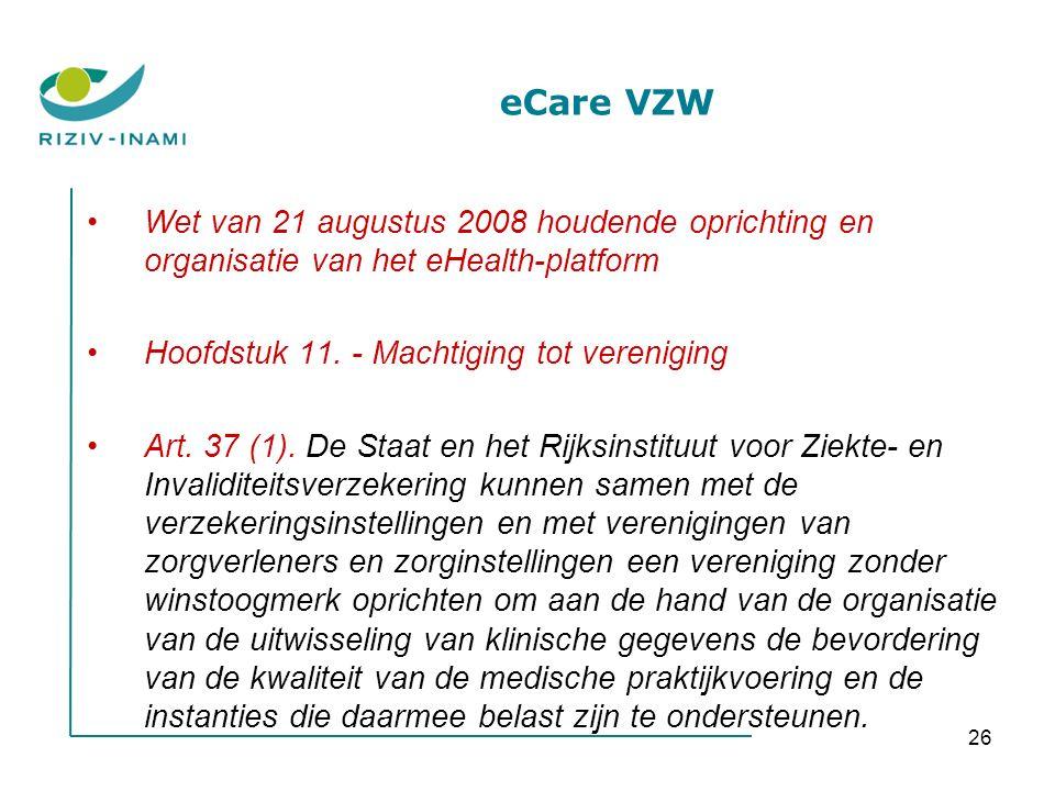 26 eCare VZW Wet van 21 augustus 2008 houdende oprichting en organisatie van het eHealth-platform Hoofdstuk 11.