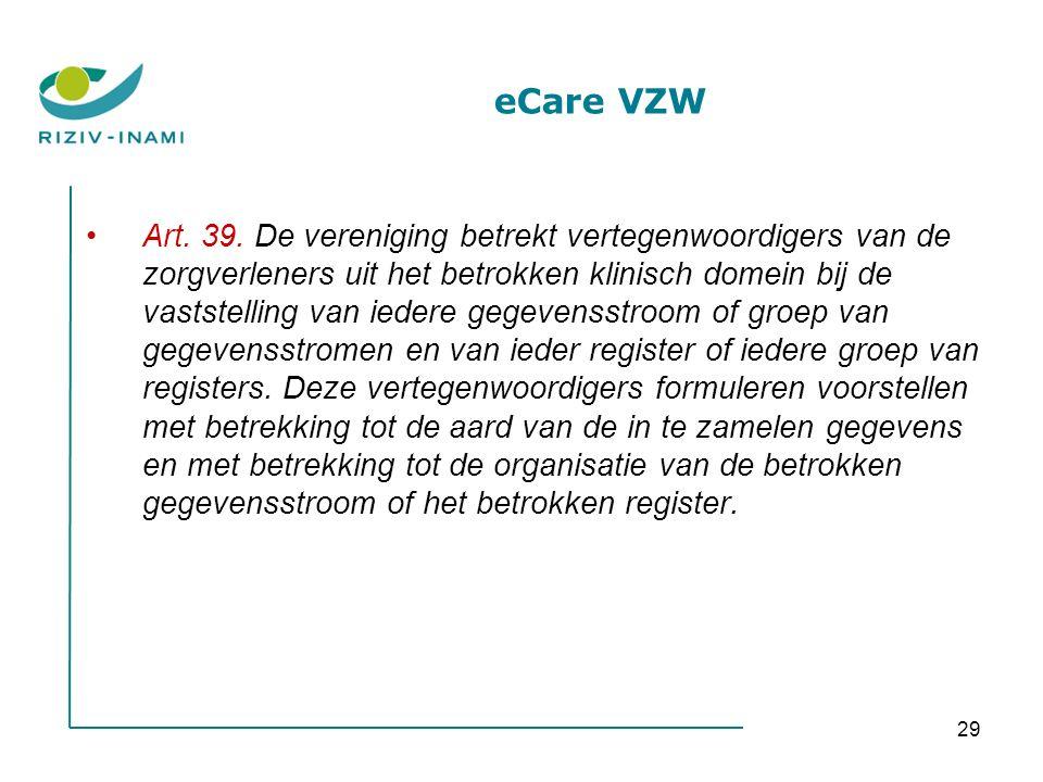 29 eCare VZW Art. 39. De vereniging betrekt vertegenwoordigers van de zorgverleners uit het betrokken klinisch domein bij de vaststelling van iedere g