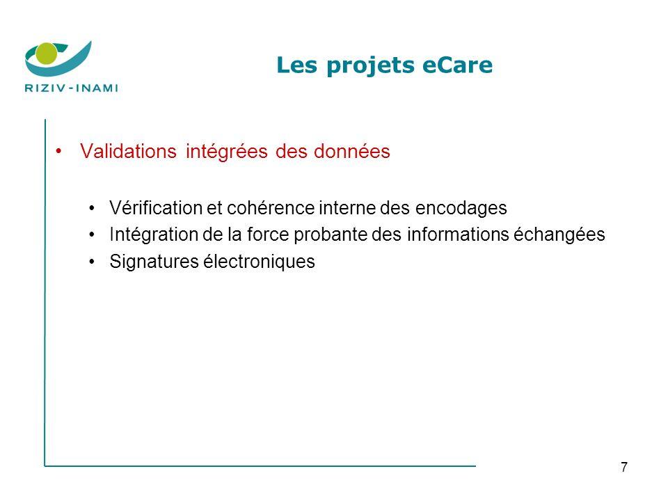 7 Les projets eCare Validations intégrées des données Vérification et cohérence interne des encodages Intégration de la force probante des informations échangées Signatures électroniques