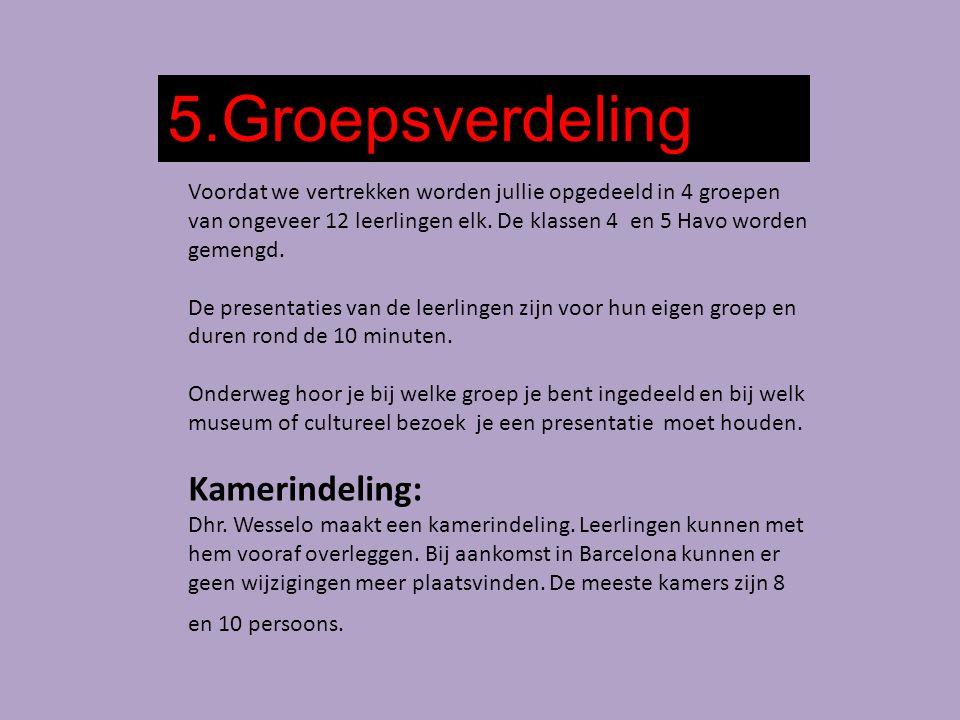 5.Groepsverdeling Voordat we vertrekken worden jullie opgedeeld in 4 groepen van ongeveer 12 leerlingen elk.
