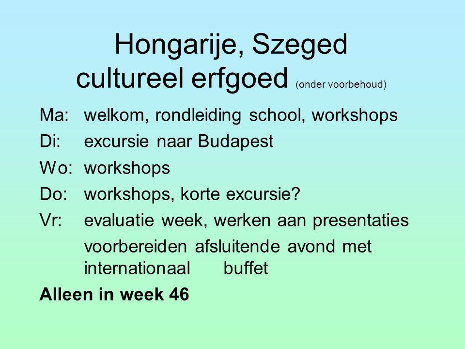 Hongarije, Szeged cultureel erfgoed (onder voorbehoud) Ma:welkom, rondleiding school, workshops Di:excursie naar Budapest Wo:workshops Do: workshops, korte excursie.