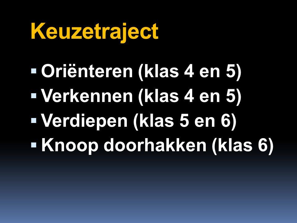 Keuzetraject  Oriënteren (klas 4 en 5)  Verkennen (klas 4 en 5)  Verdiepen (klas 5 en 6)  Knoop doorhakken (klas 6)