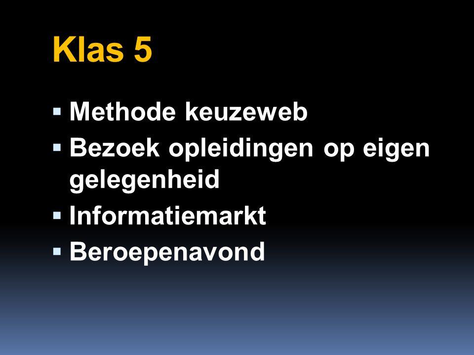 Klas 5  Methode keuzeweb  Bezoek opleidingen op eigen gelegenheid  Informatiemarkt  Beroepenavond