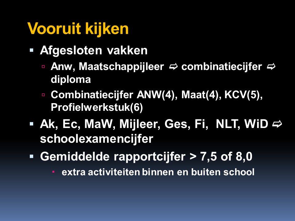 Vooruit kijken  Afgesloten vakken  Anw, Maatschappijleer  combinatiecijfer  diploma  Combinatiecijfer ANW(4), Maat(4), KCV(5), Profielwerkstuk(6)  Ak, Ec, MaW, Mijleer, Ges, Fi, NLT, WiD  schoolexamencijfer  Gemiddelde rapportcijfer > 7,5 of 8,0  extra activiteiten binnen en buiten school
