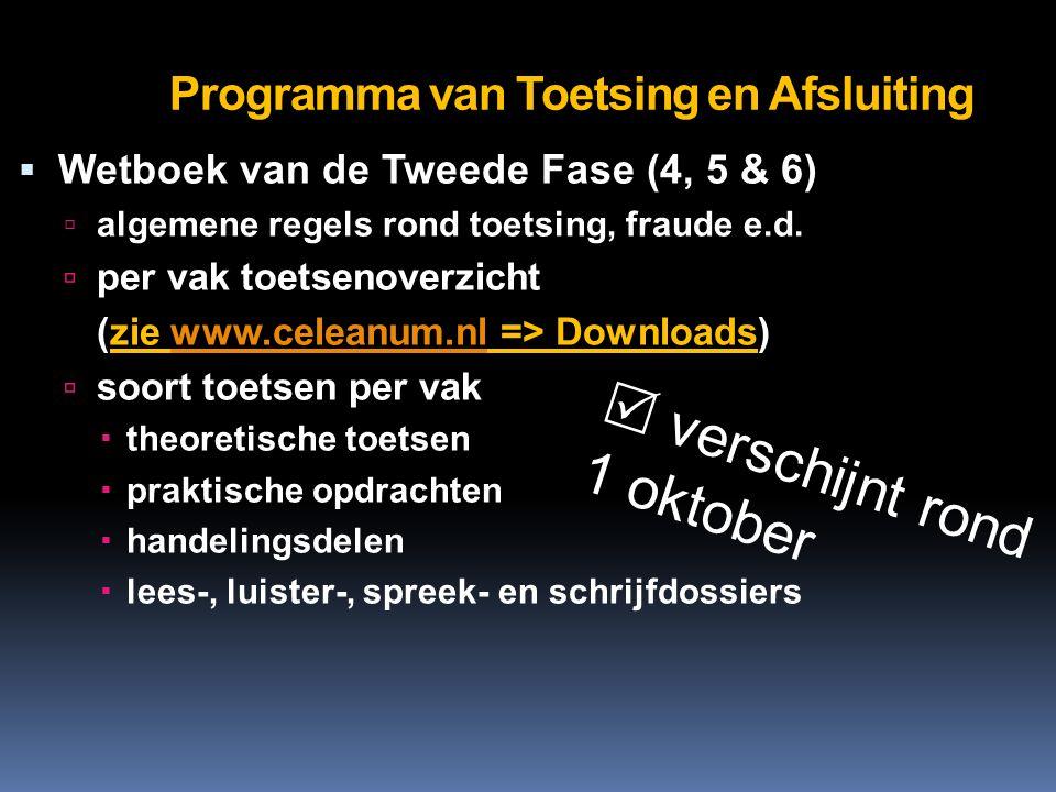 Programma van Toetsing en Afsluiting  Wetboek van de Tweede Fase (4, 5 & 6)  algemene regels rond toetsing, fraude e.d.