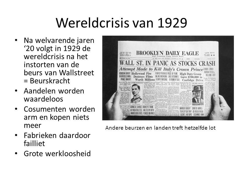 Wereldcrisis van 1929 Na welvarende jaren '20 volgt in 1929 de wereldcrisis na het instorten van de beurs van Wallstreet = Beurskracht Aandelen worden