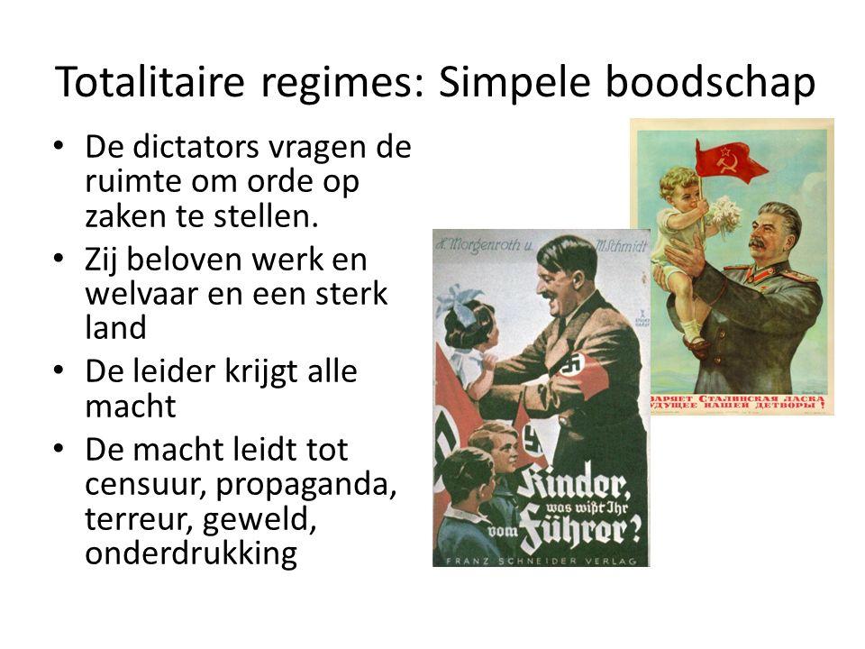 Totalitaire regimes: Simpele boodschap De dictators vragen de ruimte om orde op zaken te stellen. Zij beloven werk en welvaar en een sterk land De lei