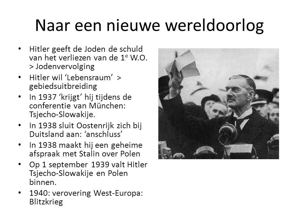 Naar een nieuwe wereldoorlog Hitler geeft de Joden de schuld van het verliezen van de 1 e W.O. > Jodenvervolging Hitler wil 'Lebensraum' > gebiedsuitb