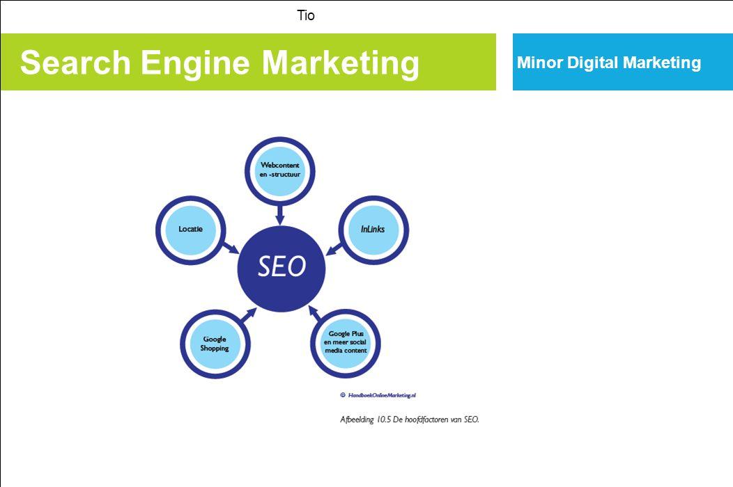 Search Engine Marketing Tio Minor Digital Marketing SEOanalyse door Google Google en andere zoekmachines geven mogelijkheden om de posities (SEP) en de geïndexeerde content te analyseren: Link; Site; Viral site; Info; Filetype; Zie pagina 344 in H 10.
