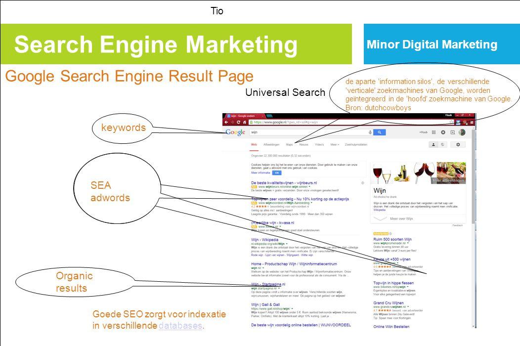 Search Engine Marketing Tio Minor Digital Marketing Google Search Engine Result Page special links met google zorgen voor nog meer resultaat: Google+ Google maps, Youtube, Google street view…… Universal Search