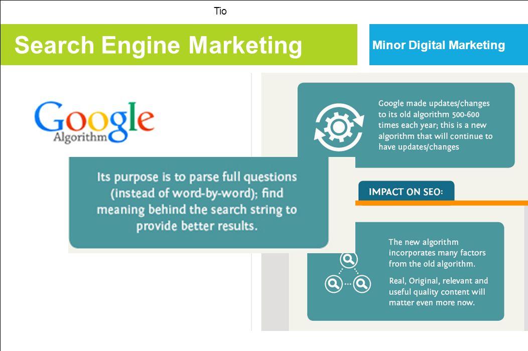 Search Engine Marketing Tio Minor Digital Marketing 10 feiten over zoekmachinemarketing 1.Google wereldwijd marktleider (84% marktaandeel); 2.Google in Nederland grootste met ongeveer 95%; 3.Zoeken is een ongestructureerde markt: niet alles bekend over manie van indexeren; 4.Social media beïnvloeden de ranking; 5.SEM is een deel onbetaald > organisch > SEO 6.SEM is een deel betaald > adwords > SEA 7.SEM is direct meetbaar, goed te analyseren en te sturen; 8.SEM houdt verband met de indexering en de content van een site; 9.SEP is de vermelding en de positie in de zoekmachine.