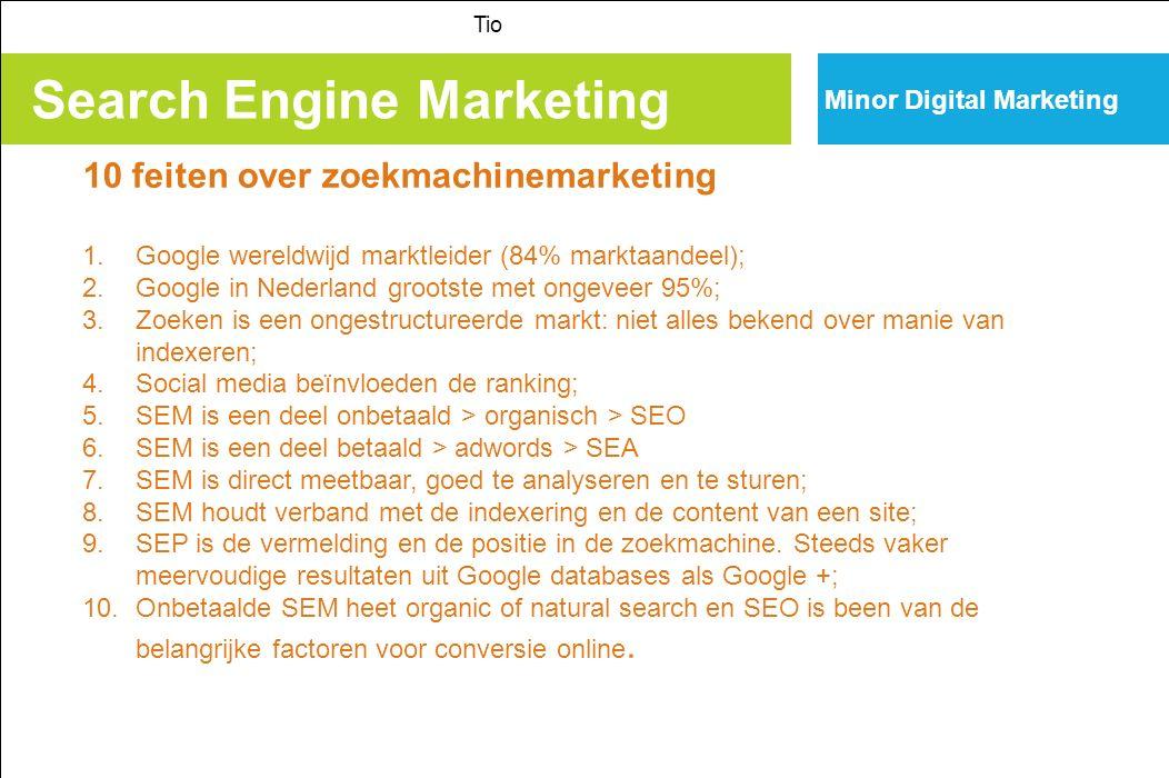 Search Engine Marketing Tio Minor Digital Marketing Search Engine Optimisation richt zich op het verkrijgen van een hogere ranking bij bepaalde keyword resultaten.