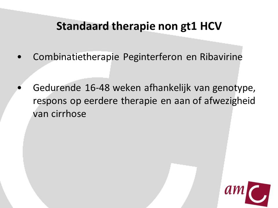 Standaard therapie non gt1 HCV Combinatietherapie Peginterferon en Ribavirine Gedurende 16-48 weken afhankelijk van genotype, respons op eerdere therapie en aan of afwezigheid van cirrhose