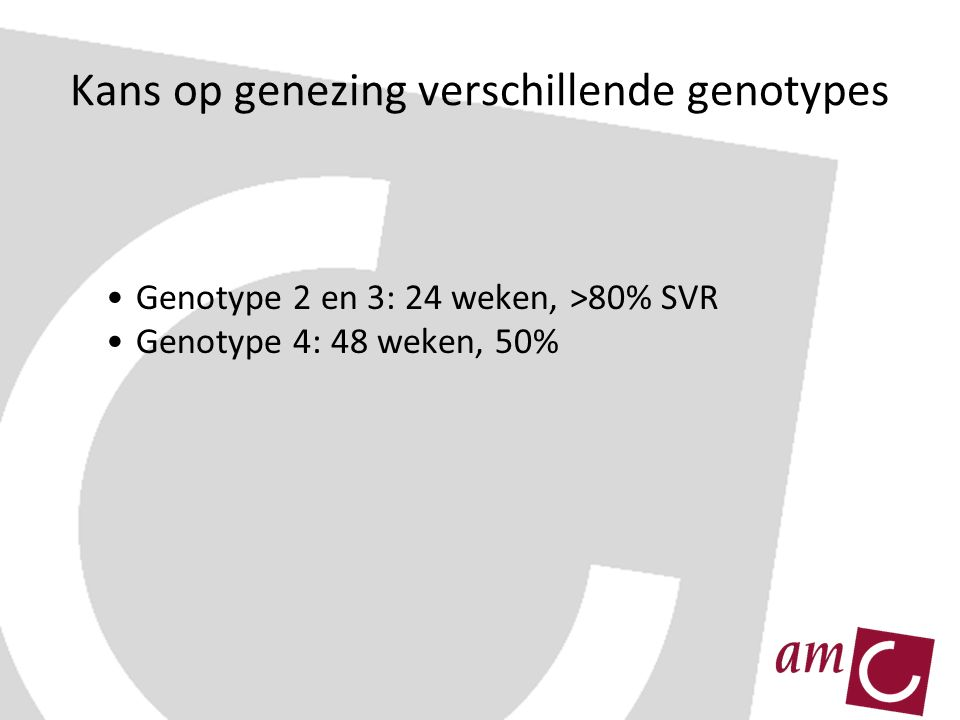Kans op genezing verschillende genotypes Genotype 2 en 3: 24 weken, >80% SVR Genotype 4: 48 weken, 50%