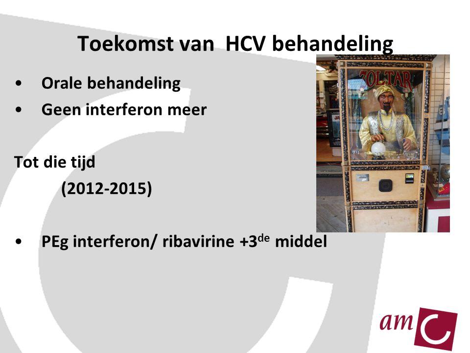 Toekomst van HCV behandeling Orale behandeling Geen interferon meer Tot die tijd (2012-2015) PEg interferon/ ribavirine +3 de middel