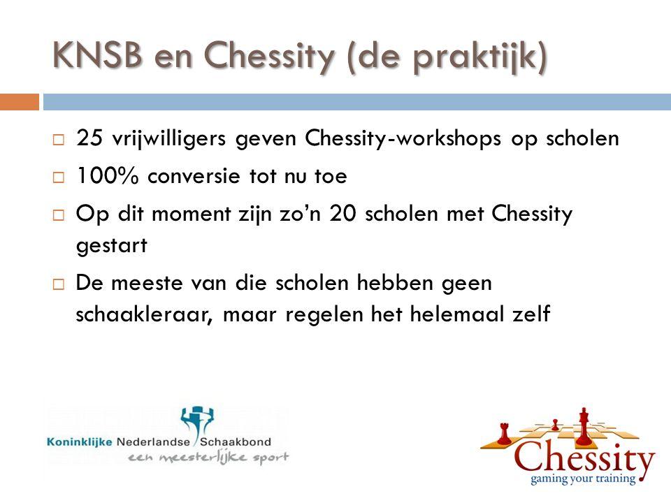 KNSB en Chessity (de praktijk)  25 vrijwilligers geven Chessity-workshops op scholen  100% conversie tot nu toe  Op dit moment zijn zo'n 20 scholen met Chessity gestart  De meeste van die scholen hebben geen schaakleraar, maar regelen het helemaal zelf