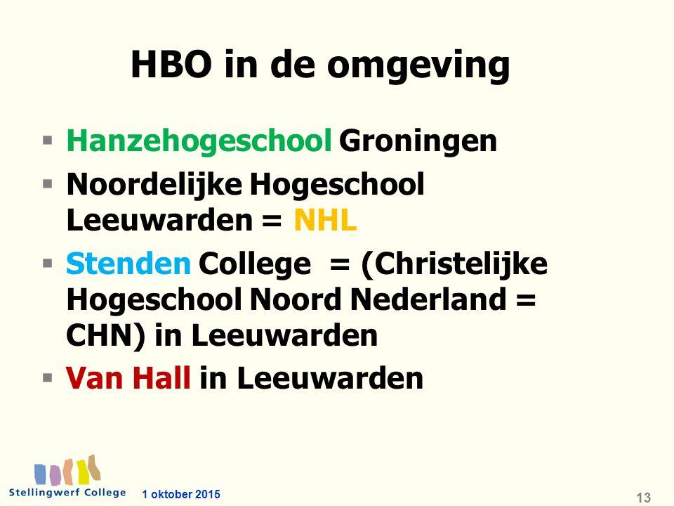 1 oktober 2015 13 HBO in de omgeving  Hanzehogeschool Groningen  Noordelijke Hogeschool Leeuwarden = NHL  Stenden College = (Christelijke Hogeschool Noord Nederland = CHN) in Leeuwarden  Van Hall in Leeuwarden