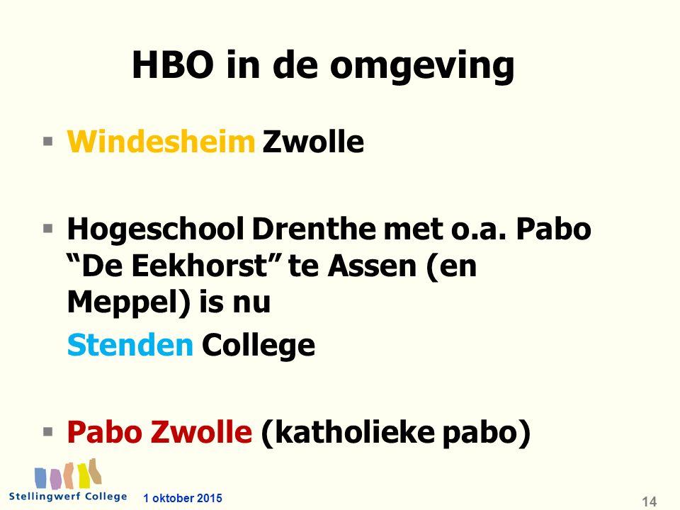 1 oktober 2015 14 HBO in de omgeving  Windesheim Zwolle  Hogeschool Drenthe met o.a.