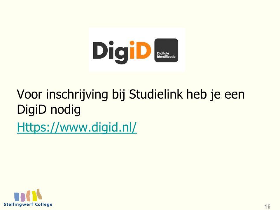 Voor inschrijving bij Studielink heb je een DigiD nodig Https://www.digid.nl/ 16