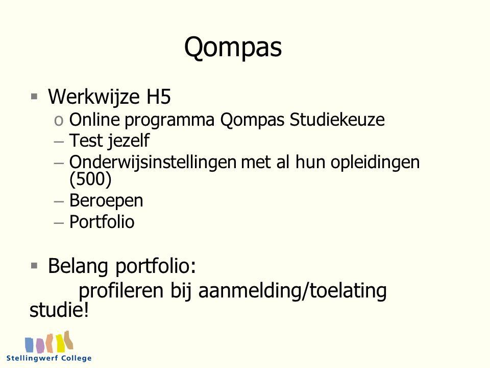 Qompas  Werkwijze H5 oOnline programma Qompas Studiekeuze – Test jezelf – Onderwijsinstellingen met al hun opleidingen (500) – Beroepen – Portfolio  Belang portfolio: profileren bij aanmelding/toelating studie!