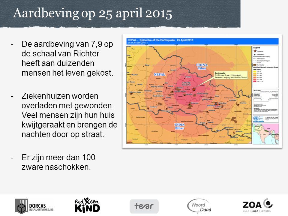 Aardbeving op 25 april 2015 -De aardbeving van 7,9 op de schaal van Richter heeft aan duizenden mensen het leven gekost. -Ziekenhuizen worden overlade