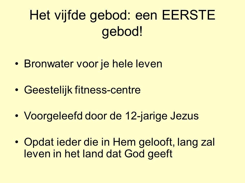 Het vijfde gebod: een EERSTE gebod! Bronwater voor je hele leven Geestelijk fitness-centre Voorgeleefd door de 12-jarige Jezus Opdat ieder die in Hem