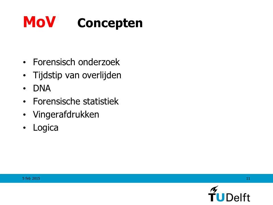 MoV Concepten Forensisch onderzoek Tijdstip van overlijden DNA Forensische statistiek Vingerafdrukken Logica 5 feb 201511