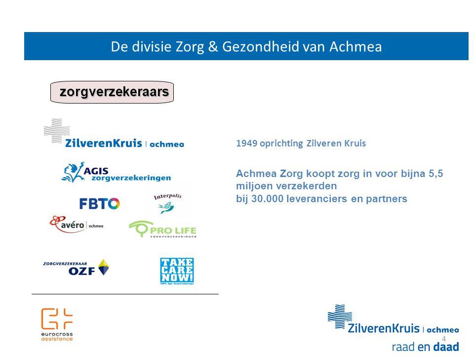 4 De divisie Zorg & Gezondheid van Achmea 12 zorgverzekeraars Achmea Zorg koopt zorg in voor bijna 5,5 miljoen verzekerden bij 30.000 leveranciers en partners 1949 oprichting Zilveren Kruis