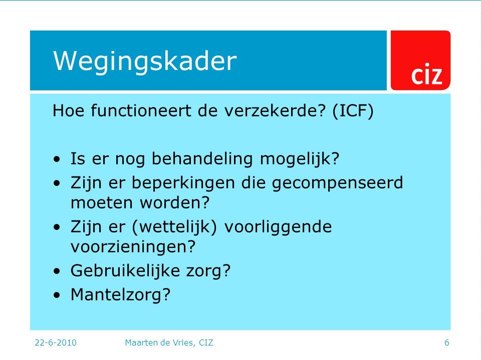 22-6-2010Maarten de Vries, CIZ6 Wegingskader Hoe functioneert de verzekerde.