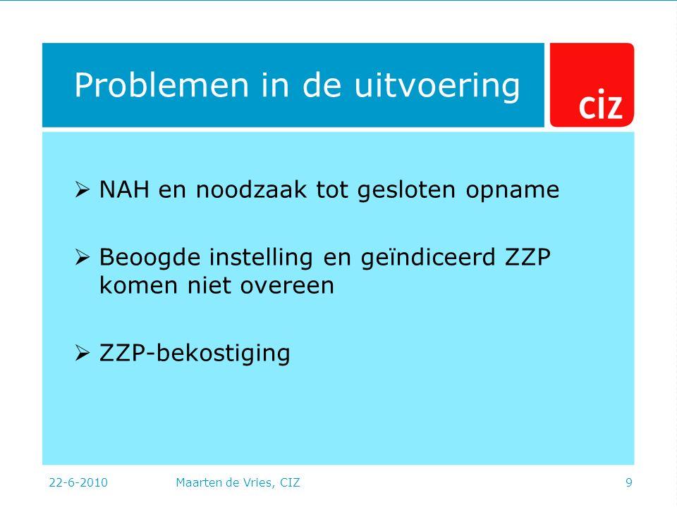 22-6-2010Maarten de Vries, CIZ9 Problemen in de uitvoering  NAH en noodzaak tot gesloten opname  Beoogde instelling en geïndiceerd ZZP komen niet overeen  ZZP-bekostiging