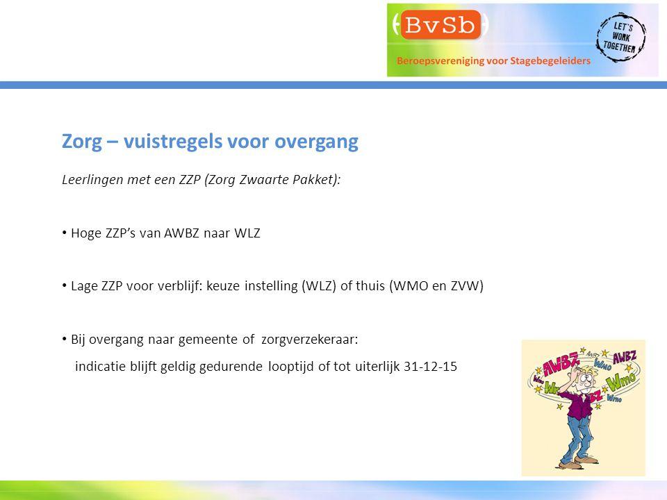 Zorg – vuistregels voor overgang Leerlingen met een ZZP (Zorg Zwaarte Pakket): Hoge ZZP's van AWBZ naar WLZ Lage ZZP voor verblijf: keuze instelling (