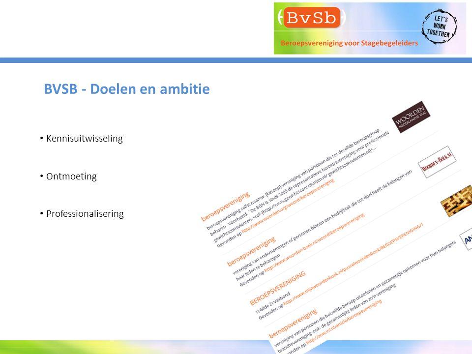 BVSB - Doelen en ambitie Kennisuitwisseling Ontmoeting Professionalisering