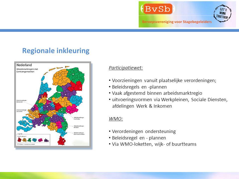 Regionale inkleuring Participatiewet: Voorzieningen vanuit plaatselijke verordeningen; Beleidsregels en -plannen Vaak afgestemd binnen arbeidsmarktreg