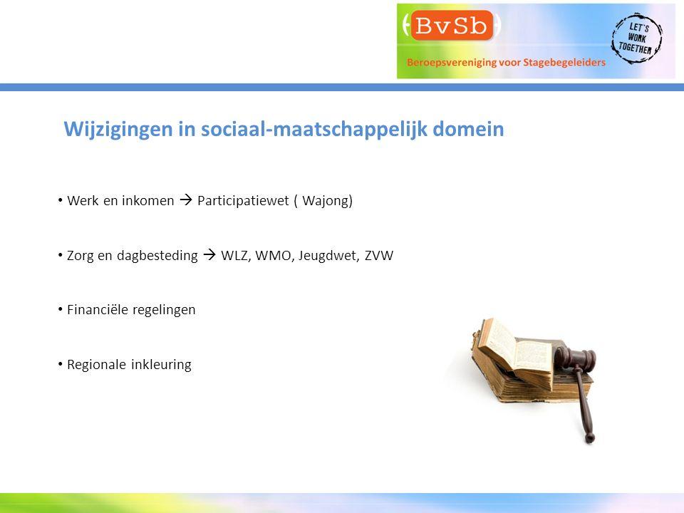 Wijzigingen in sociaal-maatschappelijk domein Werk en inkomen  Participatiewet ( Wajong) Zorg en dagbesteding  WLZ, WMO, Jeugdwet, ZVW Financiële re