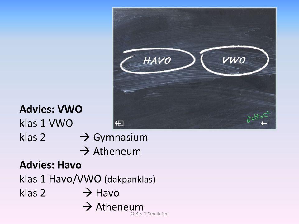 Advies: VWO klas 1 VWO klas 2  Gymnasium  Atheneum Advies: Havo klas 1 Havo/VWO (dakpanklas) klas 2  Havo  Atheneum