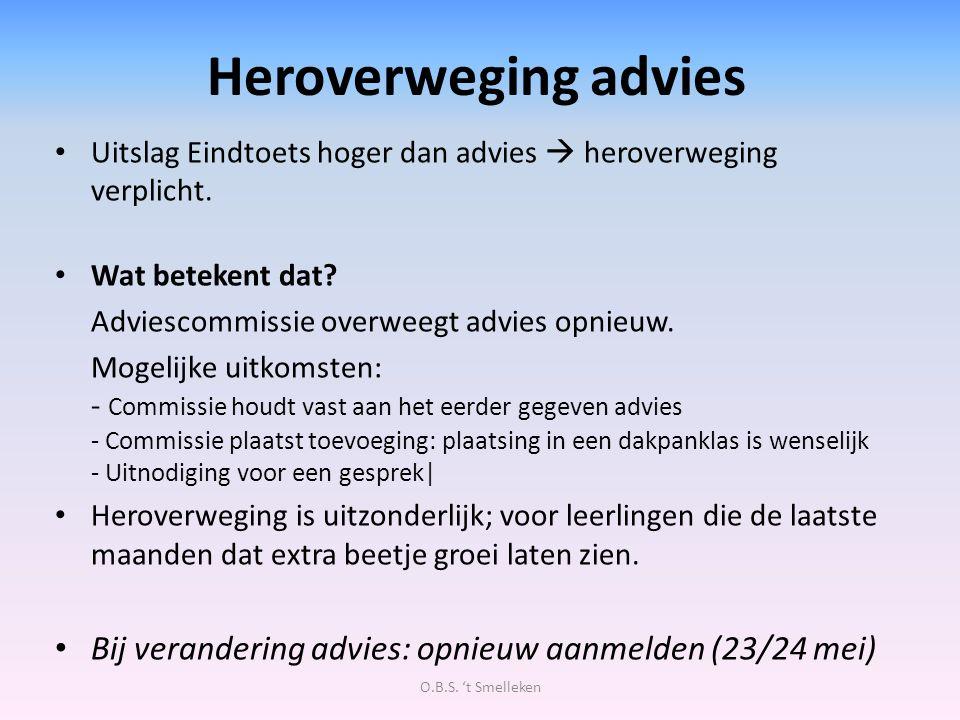 Heroverweging advies Uitslag Eindtoets hoger dan advies  heroverweging verplicht. Wat betekent dat? Adviescommissie overweegt advies opnieuw. Mogelij