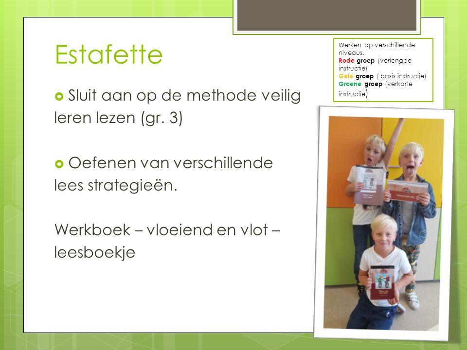 Estafette  Sluit aan op de methode veilig leren lezen (gr. 3)  Oefenen van verschillende lees strategieën. Werkboek – vloeiend en vlot – leesboekje