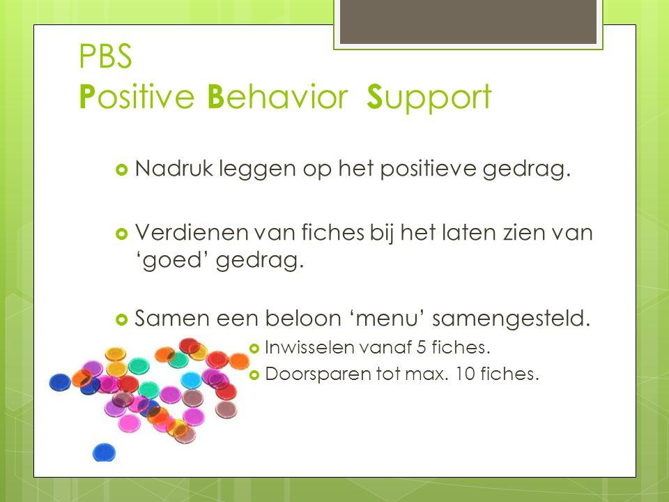 PBS P ositive B ehavior S upport  Nadruk leggen op het positieve gedrag.  Verdienen van fiches bij het laten zien van 'goed' gedrag.  Samen een bel