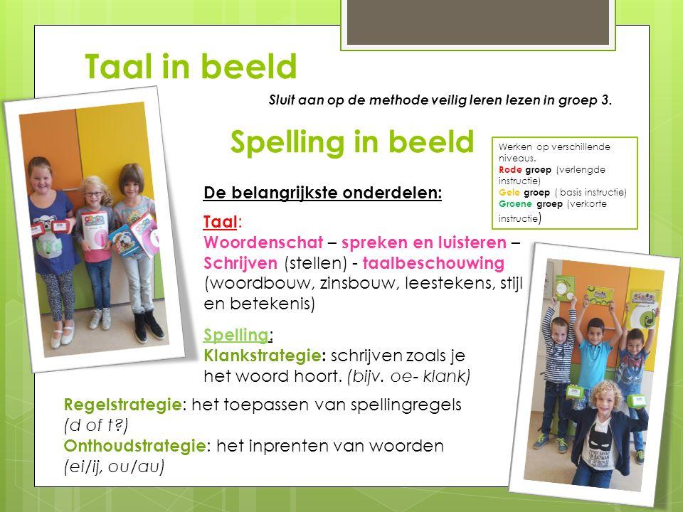 Taal in beeld Spelling in beeld  Werken op verschillende niveaus. Rode groep (verlengde instructie) Gele groep ( basis instructie) Groene groep (verk