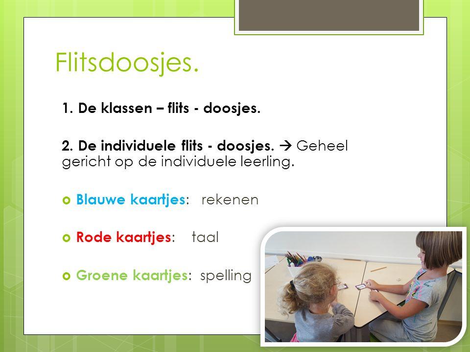 Flitsdoosjes. 1. De klassen – flits - doosjes. 2. De individuele flits - doosjes.  Geheel gericht op de individuele leerling.  Blauwe kaartjes : rek