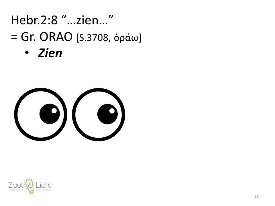 Hebr.2:8 …zien… = Gr. ORAO [S.3708, ὁράω] Zien 18