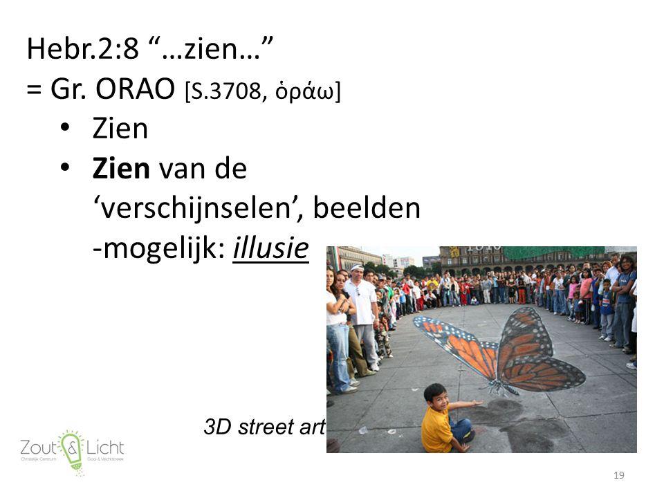 """Hebr.2:8 """"…zien…"""" = Gr. ORAO [S.3708, ὁράω] Zien Zien van de 'verschijnselen', beelden -mogelijk: illusie 19 3D street art"""