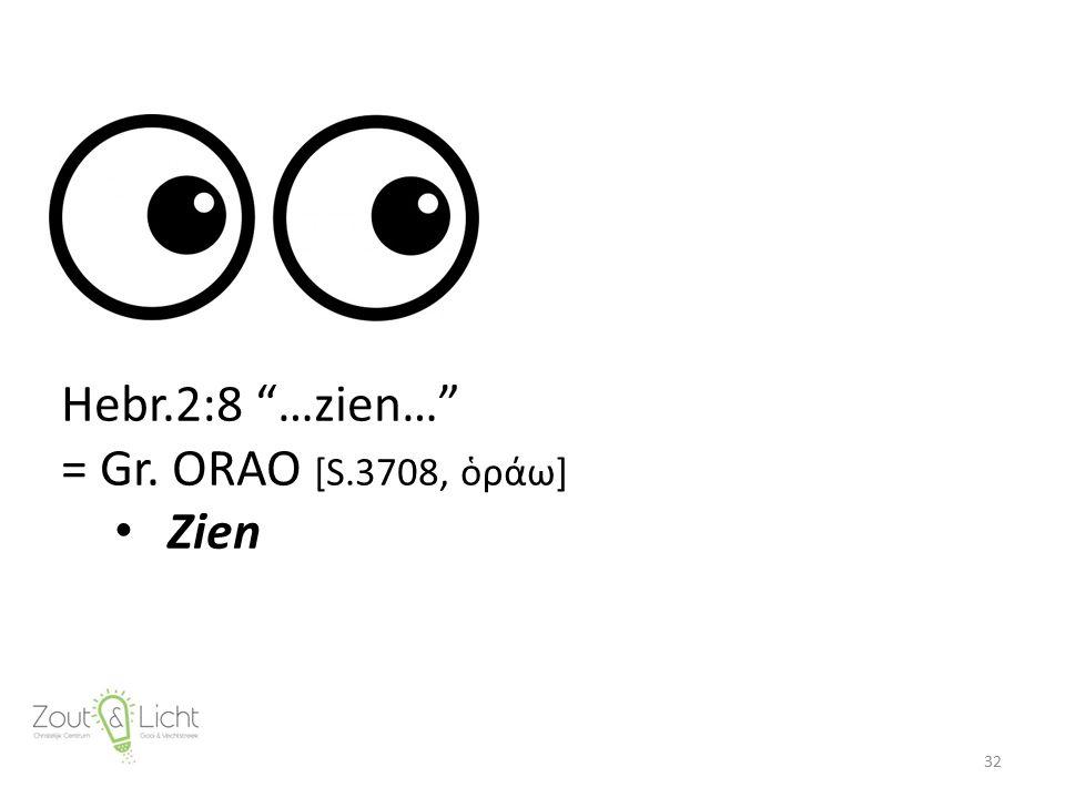 """32 Hebr.2:8 """"…zien…"""" = Gr. ORAO [S.3708, ὁράω] Zien"""