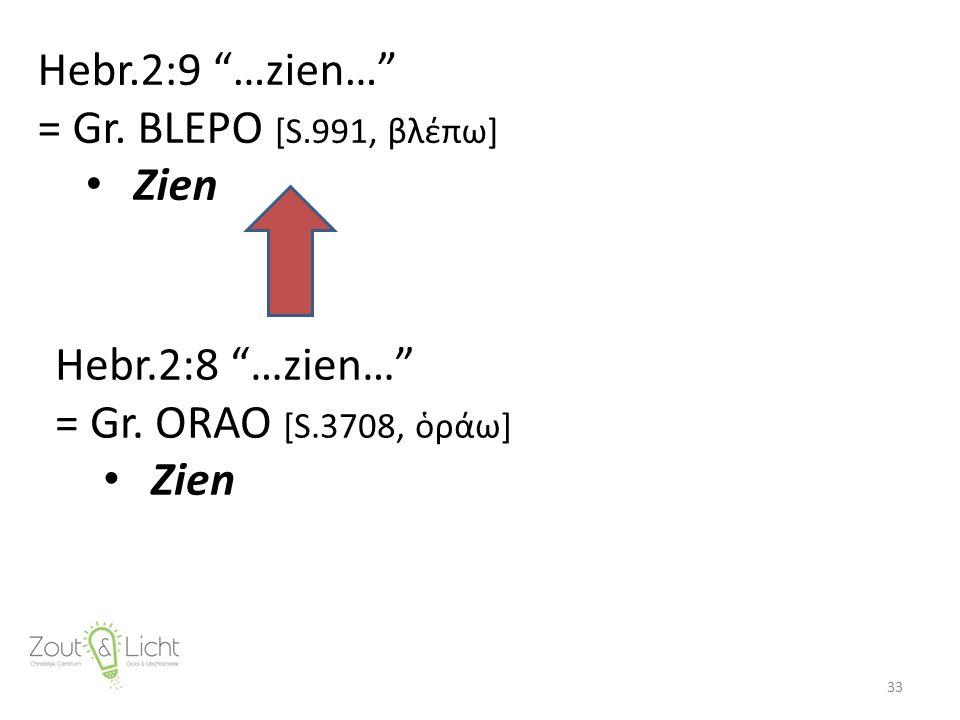"""Hebr.2:9 """"…zien…"""" = Gr. BLEPO [S.991, βλέπω] Zien 33 Hebr.2:8 """"…zien…"""" = Gr. ORAO [S.3708, ὁράω] Zien"""
