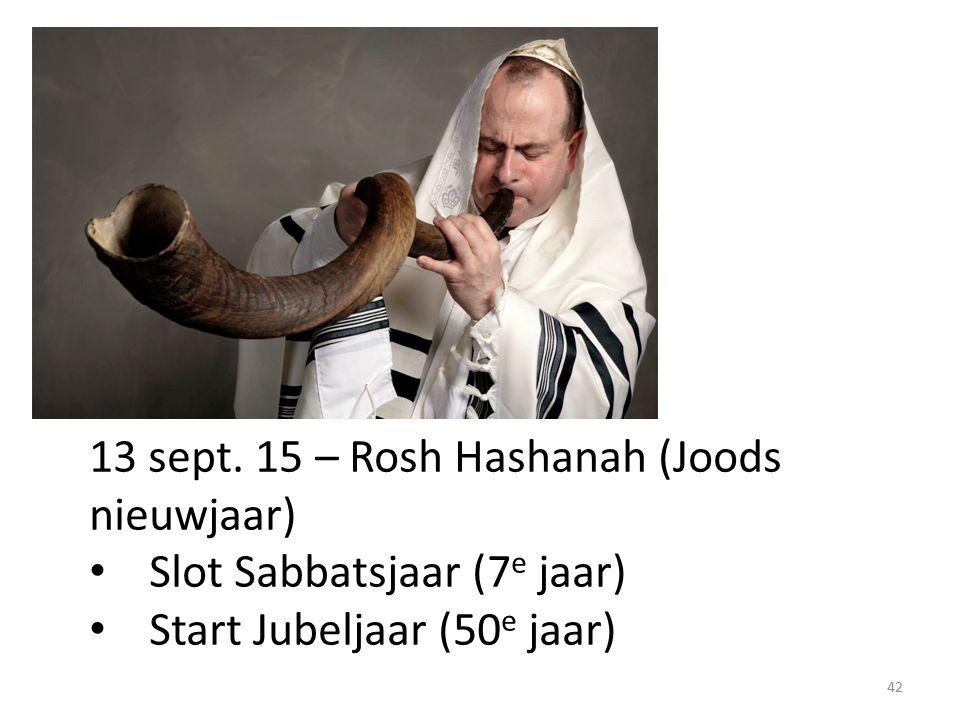 13 sept. 15 – Rosh Hashanah (Joods nieuwjaar) Slot Sabbatsjaar (7 e jaar) Start Jubeljaar (50 e jaar) 42