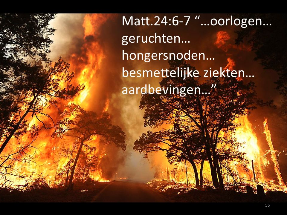 """Matt.24:6-7 """"…oorlogen… geruchten… hongersnoden… besmettelijke ziekten… aardbevingen…"""" 55"""