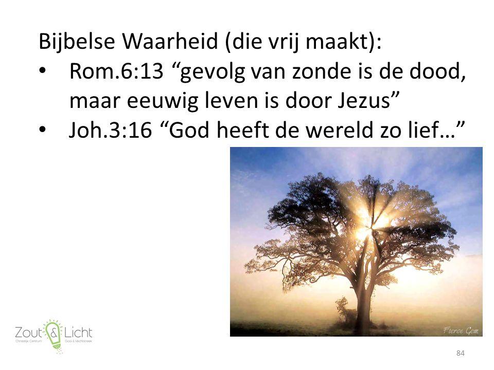 Bijbelse Waarheid (die vrij maakt): Rom.6:13 gevolg van zonde is de dood, maar eeuwig leven is door Jezus Joh.3:16 God heeft de wereld zo lief… 84