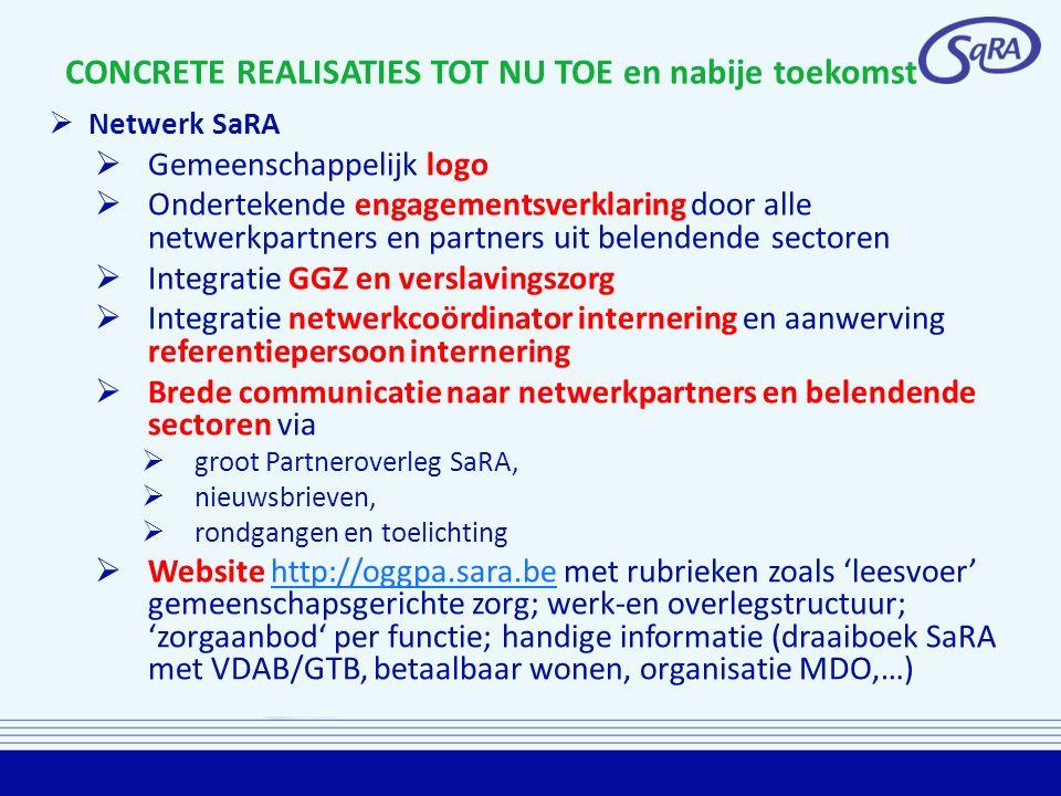 CONCRETE REALISATIES TOT NU TOE en nabije toekomst  Netwerk SaRA  Gemeenschappelijk logo  Ondertekende engagementsverklaring door alle netwerkpartn