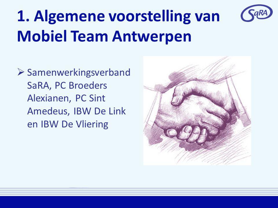 1. Algemene voorstelling van Mobiel Team Antwerpen  Samenwerkingsverband SaRA, PC Broeders Alexianen, PC Sint Amedeus, IBW De Link en IBW De Vliering